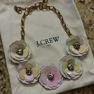 J. CREW Sequin Crystal Flower Gold Chain Necklace